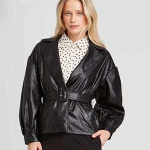 WHO WHAT WEAR FAUX LEATHER JACKET